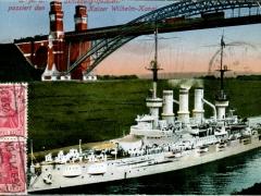 SMS Schleswig Holstein passiert den Kaiser Wilhelm Kanal