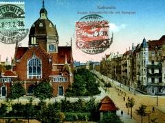 Kattowitz August Schneider Strasse mit Synagoge