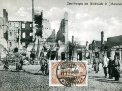 Zerstörungen am Marktplatz in Johannisburg