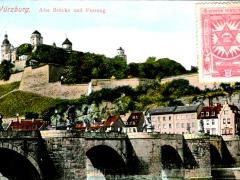 Würzburg Alte Brücke und Festung Vignette Gewerkschaft der Kellner