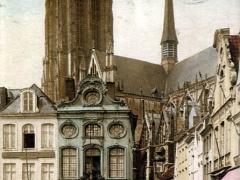 Malines Coin de la grand'place et la Cathedrale St Rombaut