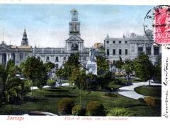 Santiago Plaza de armas con la Intendencia
