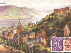 Bacharach mit Ruine Stahleck Künstlerkarte
