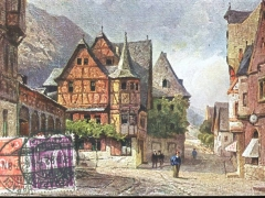 Bacherach das alte Haus Künstlerkarte