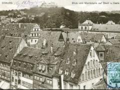Coburg Blick vom Moritzturm auf Stadt u Veste