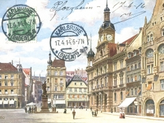 Pforzheim Marktplatz mit Rathaus und Kriegerdenkmal