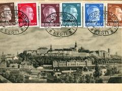 Estland Bahnpoststempel Tallinn Totalansicht auf den Domberg