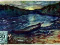 Fluss Boot Künstlerkarte