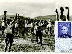 Propagandakarte Reichsarbeitsdienst Frühsport Atemübungen
