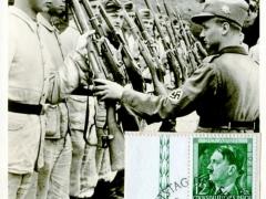 Propagandakarte Reichsarbeitsdienst  Laden und Sichern Gewehre vorzeigen