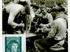 Propagandakarte Reichsarbeitsdienst Stiefelpflege