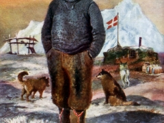Danish Greenland Man Half Breed and Eskimo Dogs