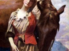 Frau mit Pferd Künstlerkarte Tracht