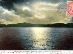 Adirondack Mountains Moonlight on Lower Saranac Lake