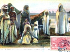 Famile Nomade devant son gourbi