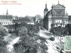 Pozdrav z Prahy Karlovo namesti a kostel sv lgnace