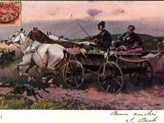 Künstlerkarte Pferdewagen