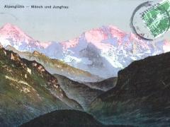 Alpenglühn Mönch und Jungfrau