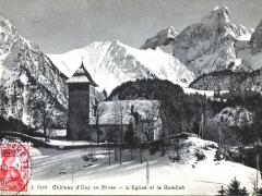Chateau d'Oex en Hiver L'Eglise et la Gumfluh