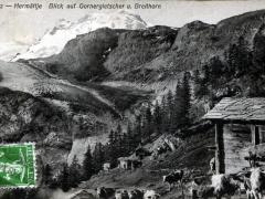 Hermättje Blick auf Gornergletscher u Breithorn