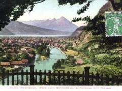 Interlaken Blick vom Hohbühl auf Unterseen und Niesen
