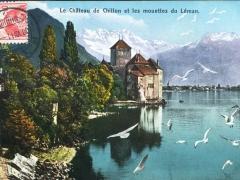 La Chateau de Chillon et les mouettes de Leman