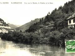 La Suisse St Ursanne Vue sur le Doubs le Viaduc et la Gare