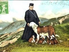 Religieux et Chiens du Grand St Bernard