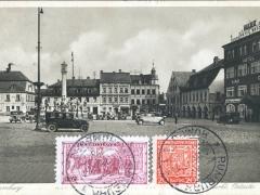 Rumburg Markt mit Pestsäule
