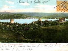 Constantinople Boshore Vue des Chateaux d'Asie et d'Europe