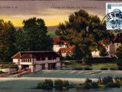 Esslingen a N Partie am Neckar mit Wasserhaus Stempel vom letzten Tag